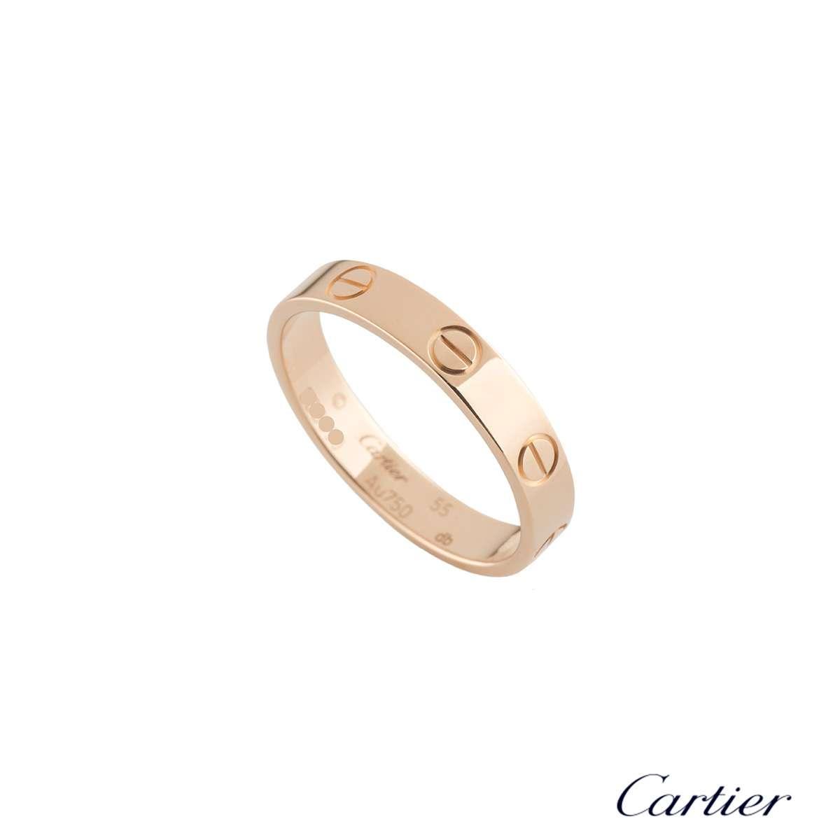 Cartier Rose Gold Plain Love Wedding Band Size 55 B4085255